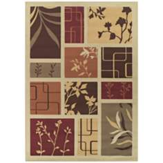 Tremont Collection Foliage Screens Ivory Area Rug