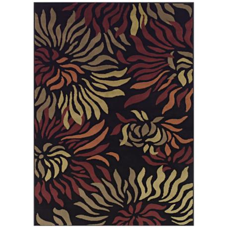 Tremont Collection Rippling Petals Black Area Rug