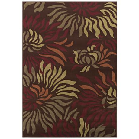 Tremont Collection Rippling Petals Chocolate Area Rug
