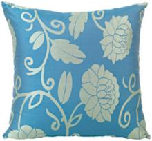 "Fresca Blue Floral Pattern 18"" Square Throw Pillow"