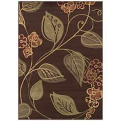 Tremont Collection Swerve Floral Chocolate Area Rug