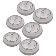 Set of 6 Battery Powered LED Puck Lights