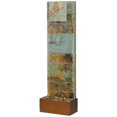 "Slate Waterfall 45"" High Clock Fountain"