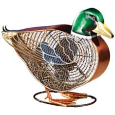 Duck Mottled Brass Figurine Fan
