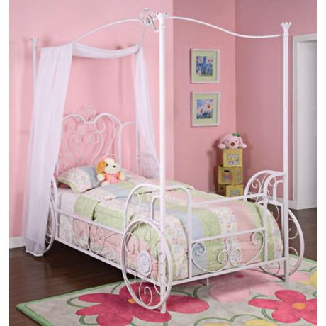 Princess Emily White Carriage Canopy Bed