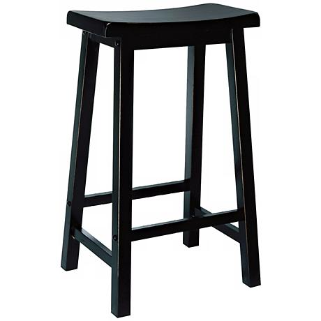 "Antique Black 29"" Backless Saddle Barstool"