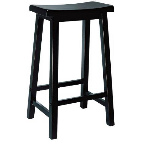 "Antique Black 29"" High Bar Stool"