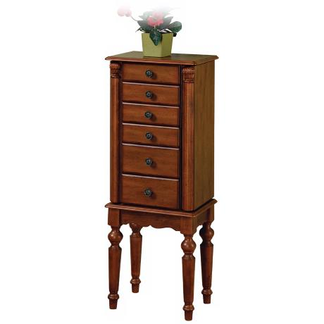 Lightly Distressed Deep Cherry Jewelry Armoire