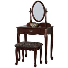 Powell Heirloom Cherry Vanity Mirror and Bench Set