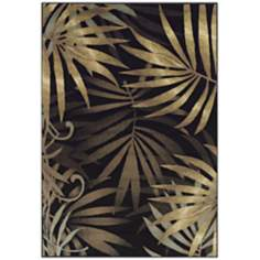 Tremont Collection Fronds Black Area Rug