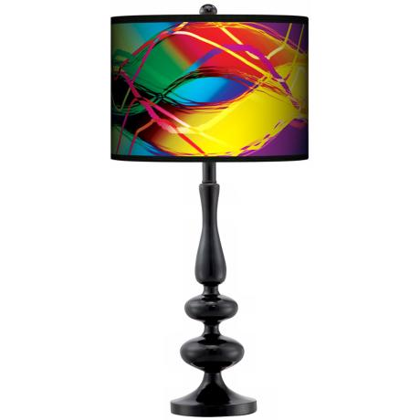 Colors In Motion (Light) Giclee Paley Black Table Lamp