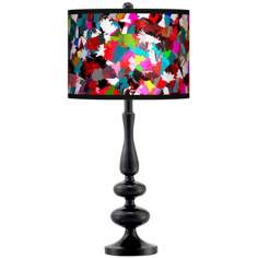 Color Splatter Giclee Paley Black Table Lamp