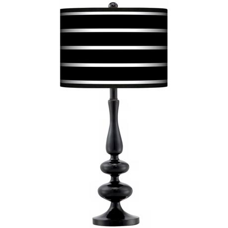 Bold Black Stripe Giclee Paley Black Table Lamp