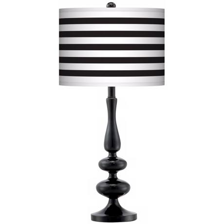 Black Horizontal Stripe Giclee Paley Black Table Lamp