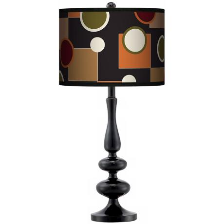 Retro Medley Giclee Paley Black Table Lamp