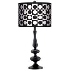Black And White Dotted Square Giclee Paley Black Table Lamp