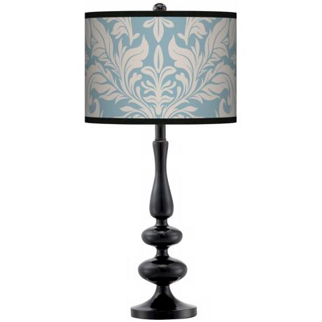 Ivory And Blue Tapestry Giclee Paley Black Table Lamp