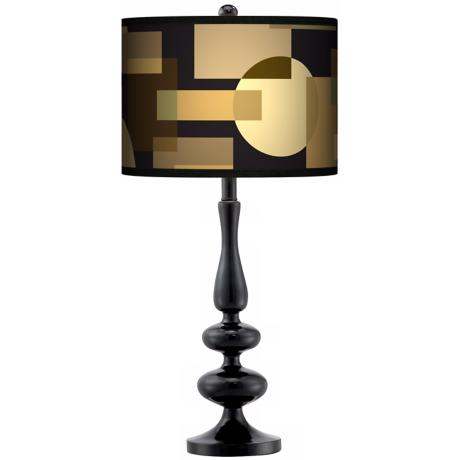 Earthy Geometrics Giclee Paley Black Table Lamp