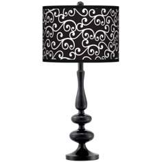 Curlicue Black Giclee Paley Black Table Lamp