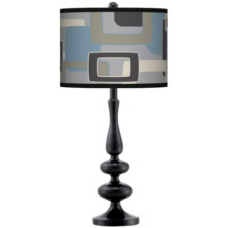 Retro Lithic Rectangles Giclee Paley Black Table Lamp