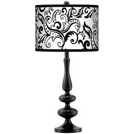 Regency Black Giclee Paley Black Table Lamp
