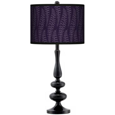 Stacy Garcia Fancy Fern Rich Plum Paley Black Table Lamp