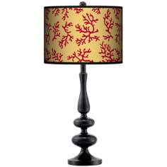 Crimson Coral Giclee Paley Black Table Lamp
