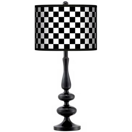 Checkered Black Giclee Paley Black Table Lamp