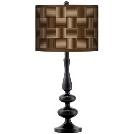 Crisscross Giclee Paley Black Table Lamp