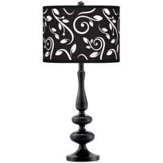 Swirling Vines Giclee Paley Black Table Lamp