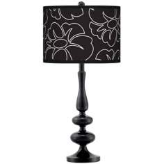 Summer Silhouette Giclee Paley Black Table Lamp