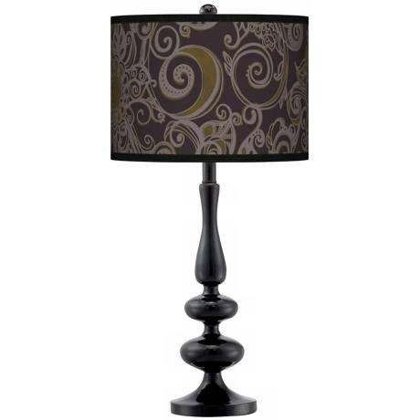 Stacy Garcia Ornament Metal Giclee Paley Black Table Lamp