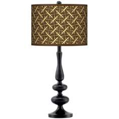 Tan Wailia Giclee Paley Black Table Lamp
