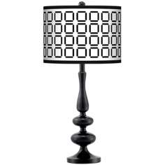 Open Grid Giclee Paley Black Table Lamp