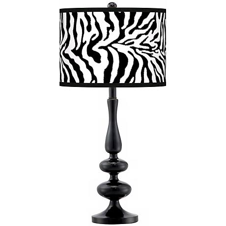 Safari Zebra Modern Gloss Black Base Table Lamp