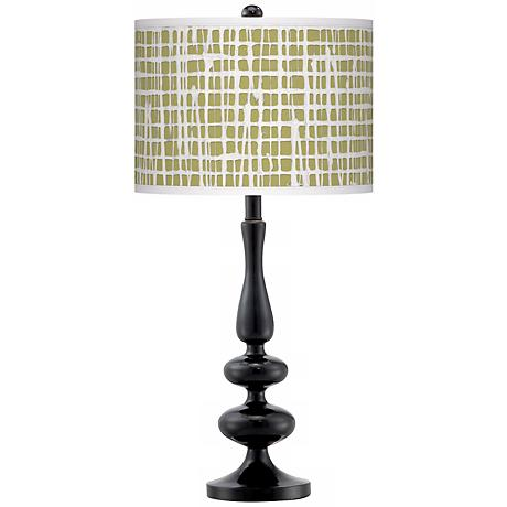 Ecru Screen Linen Giclee Paley Black Table Lamp