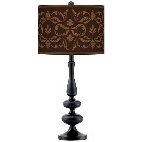 Mocha Flourish Linen Giclee Paley Black Table Lamp
