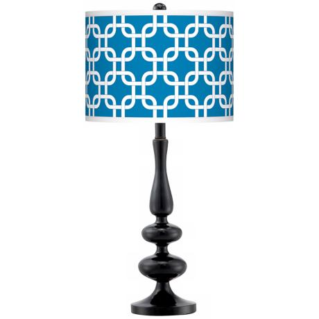 Blue Lattice Giclee Paley Black Table Lamp