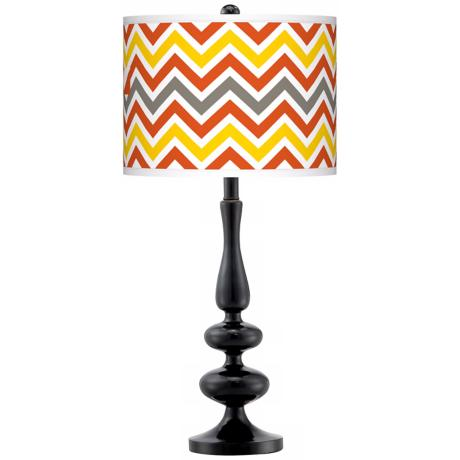 Flame Zig Zag Giclee Paley Black Table Lamp