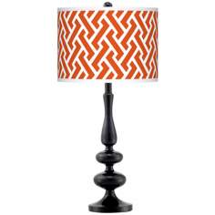 Red Brick Weave Giclee Paley Black Table Lamp
