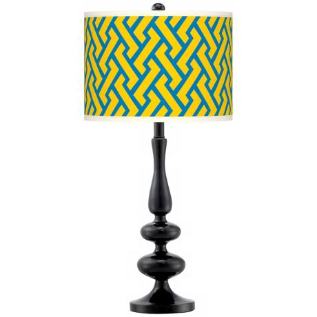 Yellow Brick Weave Giclee Paley Black Table Lamp