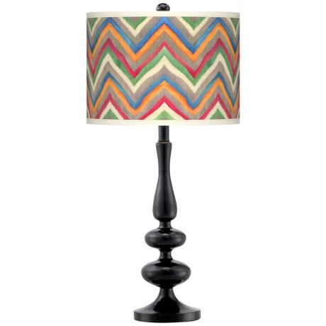 Canyon Waves Giclee Paley Black Table Lamp
