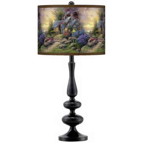 Thomas Kinkade Seaside Hideaway Giclee Glow Black Table Lamp