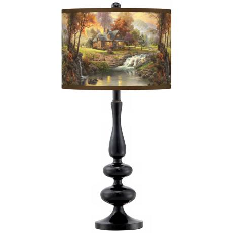 Thomas Kinkade Mountain Retreat Giclee Glow Table Lamp