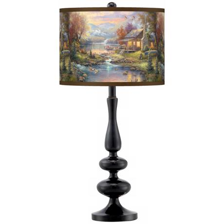 Thomas Kinkade Nature's Paradise Giclee Glow Table Lamp