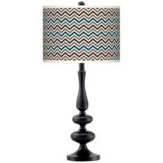 Zig Zag Giclee Paley Black Table Lamp