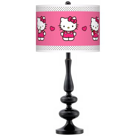 Hello Kitty Pink and Polka Dots Paley Black Table Lamp