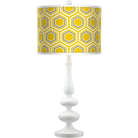 Honeycomb Giclee Paley White Table Lamp