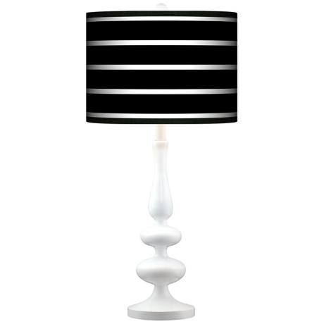 Bold Black Stripe Giclee Paley White Table Lamp