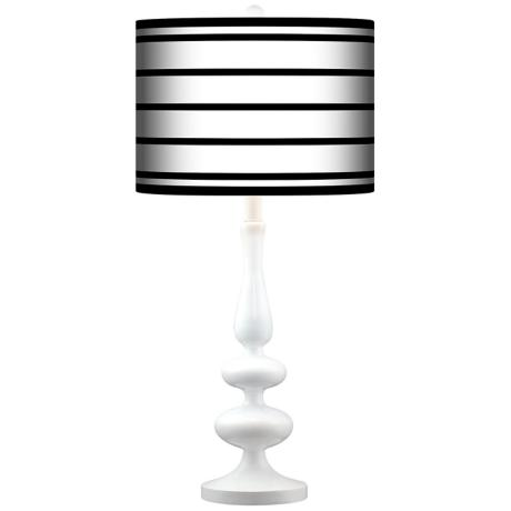 Black Parallels On White Giclee Paley White Table Lamp